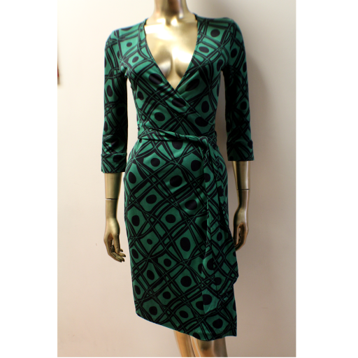 "4e265ab4bec87 ... DIANE VON FURSTENBERG- Wrap Dress-""Julian"" – SZ  4. Sold. dvfgreenweb1"